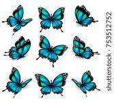 beautiful blue butterflies ... | Shutterstock .eps vector #753512752