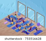 yoga studio interior with woman ... | Shutterstock .eps vector #753516628