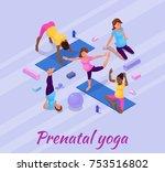 pregnancy yoga banner with... | Shutterstock .eps vector #753516802