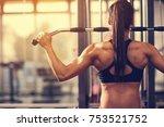 female muscular bodybuilder... | Shutterstock . vector #753521752