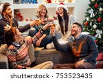 group of friends celebrating... | Shutterstock . vector #753523435
