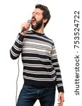 man with beard singing with... | Shutterstock . vector #753524722