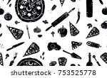 pizza seamless pattern. black...   Shutterstock .eps vector #753525778