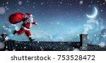 santa claus running on the...   Shutterstock . vector #753528472