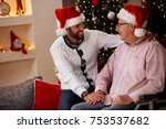 elderly father with his smiling ... | Shutterstock . vector #753537682