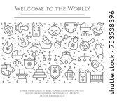 baby theme horizontal banner.... | Shutterstock .eps vector #753538396