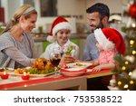 christmas time  family enjoying ... | Shutterstock . vector #753538522