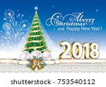 2018 christmas card with a... | Shutterstock .eps vector #753540112