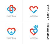 set of four health care logo... | Shutterstock .eps vector #753543616