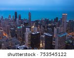 chicago skyline aerial view at... | Shutterstock . vector #753545122