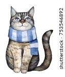 cute gray tabby kitten dressed... | Shutterstock . vector #753546892