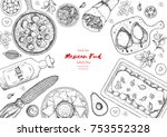 mexican food top view frame. a... | Shutterstock .eps vector #753552328
