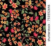 floral seamless pattern. flower ... | Shutterstock .eps vector #753552646