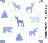 holiday seamless pattern.... | Shutterstock .eps vector #753555112