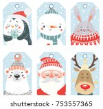 set of christmas and new year... | Shutterstock .eps vector #753557365