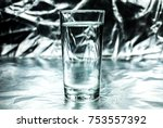 glass of water on abstract... | Shutterstock . vector #753557392