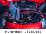 electic car with open hood.... | Shutterstock . vector #753567868