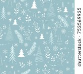 seamless christmas pattern | Shutterstock .eps vector #753569935