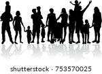 vector silhouette of family. | Shutterstock .eps vector #753570025