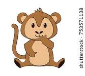 cute monkey cartoon icon vector ... | Shutterstock .eps vector #753571138