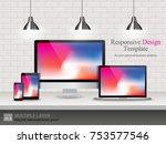 set of computer  laptop  tablet ... | Shutterstock .eps vector #753577546