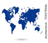 blue world map vector | Shutterstock .eps vector #753579046