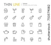 collection of drinks line icons.... | Shutterstock .eps vector #753579082