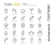 collection of drinks line icons.... | Shutterstock .eps vector #753579085