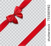 red satin ribbon and bow vector ... | Shutterstock .eps vector #753585982