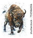 watercolor  buffalo  bison ... | Shutterstock . vector #753586006