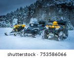winter motorcycle. snowmobile.... | Shutterstock . vector #753586066