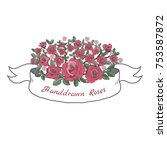 flower ribbon of rose. drawing... | Shutterstock .eps vector #753587872