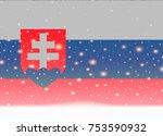 slovakia flag on christmas...   Shutterstock .eps vector #753590932