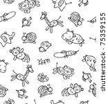seamless pattern of cute... | Shutterstock .eps vector #75359155