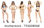 collage  beautiful full body... | Shutterstock . vector #753608068