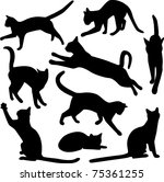 Stock vector vector collection of cat silhouettes 75361255
