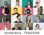 diverse people smiling... | Shutterstock . vector #753614296