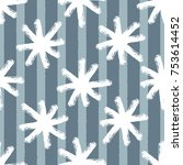 white snowflakes on striped... | Shutterstock .eps vector #753614452