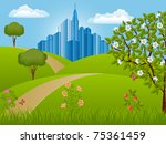 summer landscape. nature... | Shutterstock .eps vector #75361459