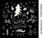 merry christmas calligraphic... | Shutterstock .eps vector #753614662