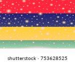 mauritius flag on christmas... | Shutterstock .eps vector #753628525