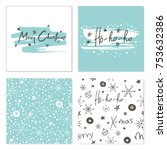 set of creative christmas cards ... | Shutterstock .eps vector #753632386
