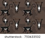spider monkey cartoon seamless... | Shutterstock .eps vector #753633532