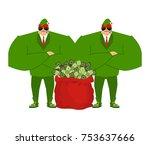 santa elf and red bag full... | Shutterstock .eps vector #753637666