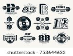 powerlifting emblems and badges.... | Shutterstock .eps vector #753644632