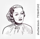 marlene dietrich vector sketch...   Shutterstock .eps vector #753645142