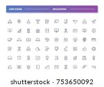 3. set of 60 line icons.... | Shutterstock .eps vector #753650092