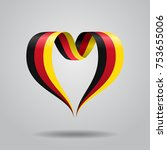 german flag heart shaped wavy... | Shutterstock .eps vector #753655006
