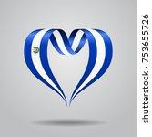 el salvador flag heart shaped... | Shutterstock .eps vector #753655726