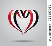 egyptian flag heart shaped wavy ... | Shutterstock .eps vector #753657052